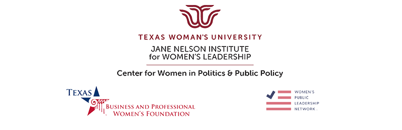 Logos for the Jane Nelson Institute for Women's Leadership, Texas Business and Professional Women's Foundation, and Women's Public Leadership Network